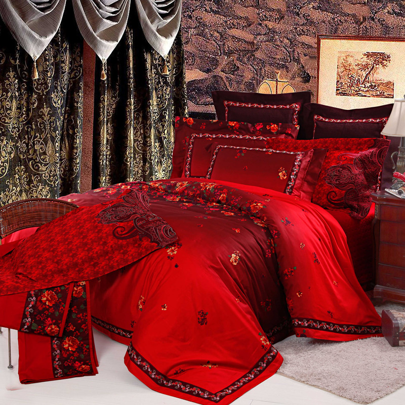 品牌家纺 2013婚庆 床品 大红奢华 多件套 中国风床上用品床单式