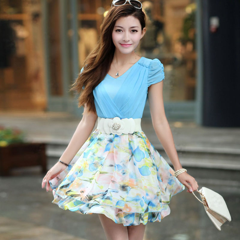淑女装_衣景西湖2013夏装新款 韩版ol气质淑女装 夏季短袖雪纺修身连衣裙