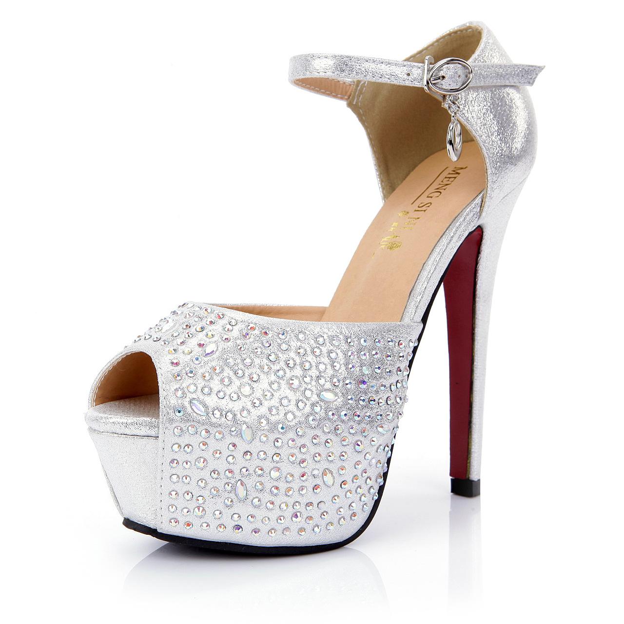 2013年新款女鞋搭扣水钻流苏防水台超高跟鱼嘴婚鞋女 513-2#