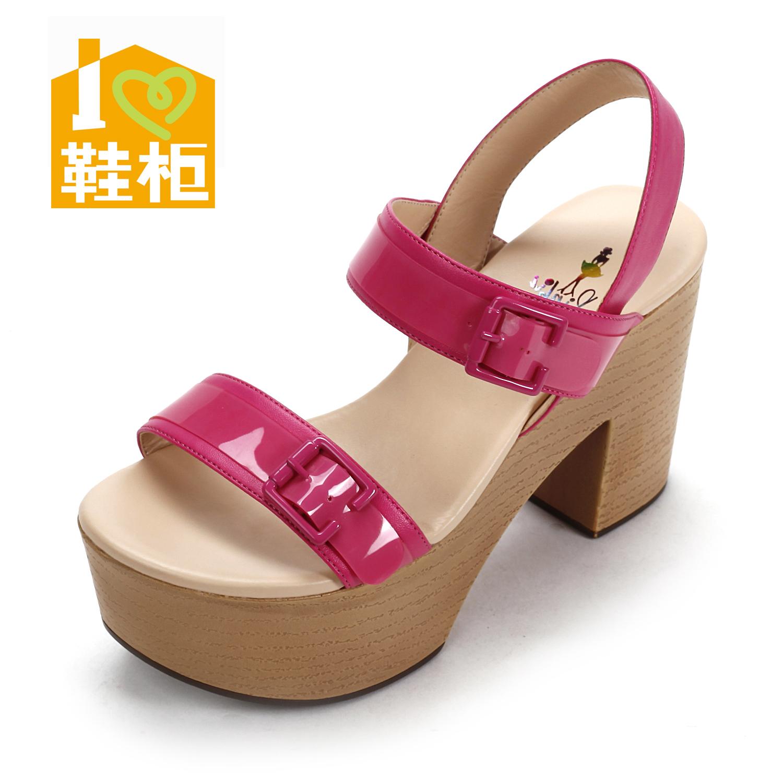 鞋柜2013夏季时尚糖果色pvc粗跟木纹厚底女凉鞋1113303000