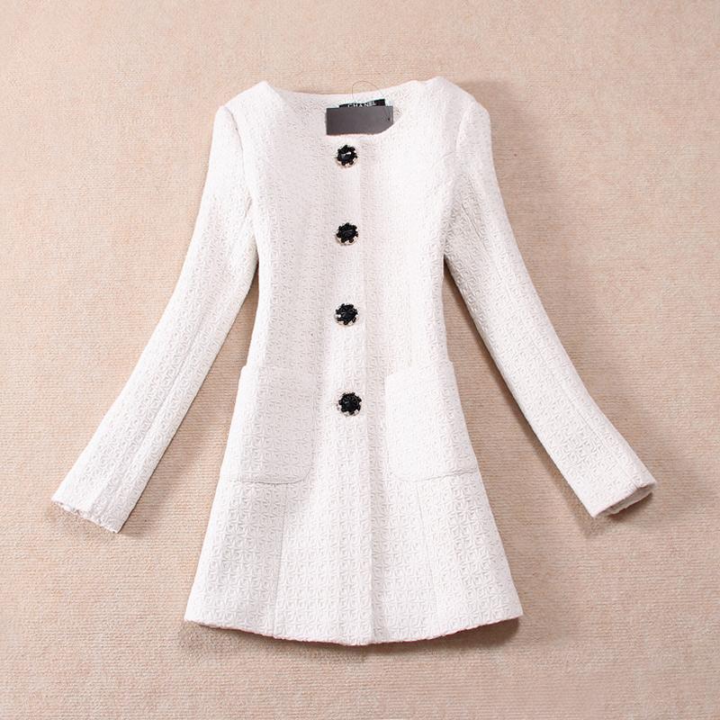 женское пальто Зима 2013 новый корейской версии пальто шерсти длинные тонкие талии из грубой шерстяной ткани цветы пальто