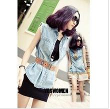 The explosion models denim vest female spring and summer retro code Sleeveless Vest Korean fashion vest coat waistcoat