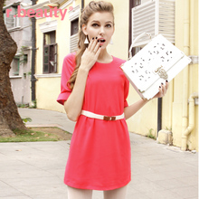 r.beauty quality summer women's large size Korean version of the candy solid color short-sleeved chiffon dress 70275 wild