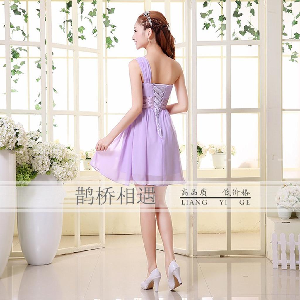 2013新款伴娘礼服短款香槟新娘敬酒服韩版结婚晚礼服姐妹裙 LF02