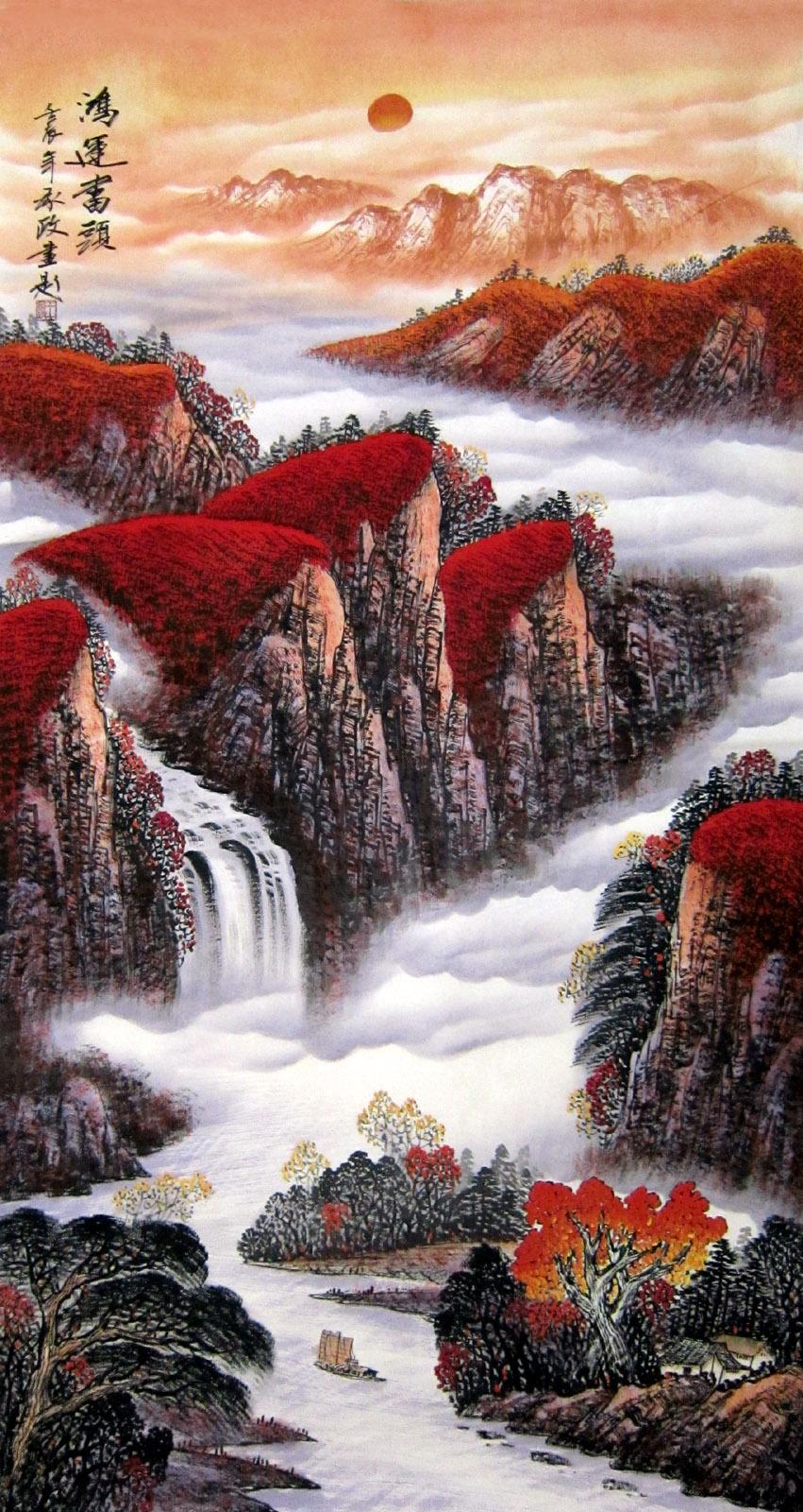 好彩国画客厅办公室承政六尺大红竖幅山水画鸿运当头y图片