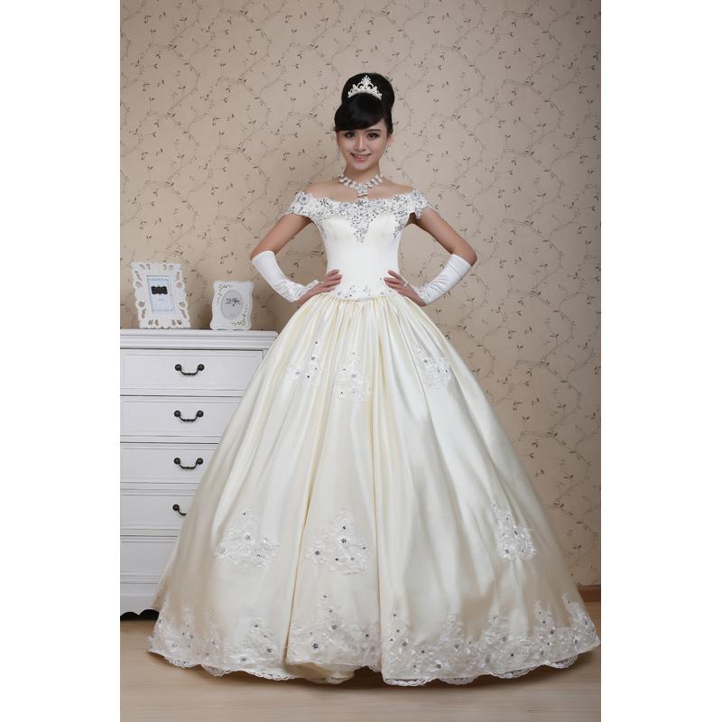 典恒新娘婚纱礼服2013新款韩版甜美公主一字肩显瘦婚纱DHS-33款