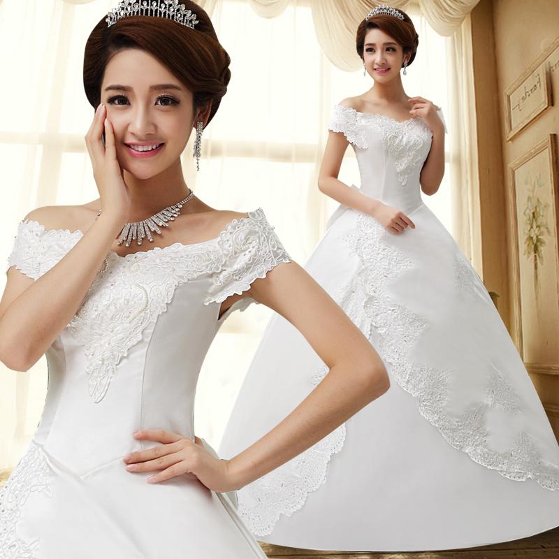 婚纱礼服2013新款韩版甜美公主一字肩绑带显瘦白色包邮HS-2-11款