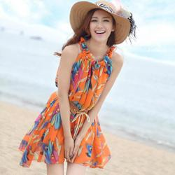 Beach dress chiffon short dress style belt