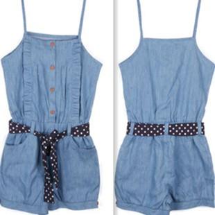 Crabox Denim Sleeveless Spaghetti Strap Short Girls Suspender Jeans