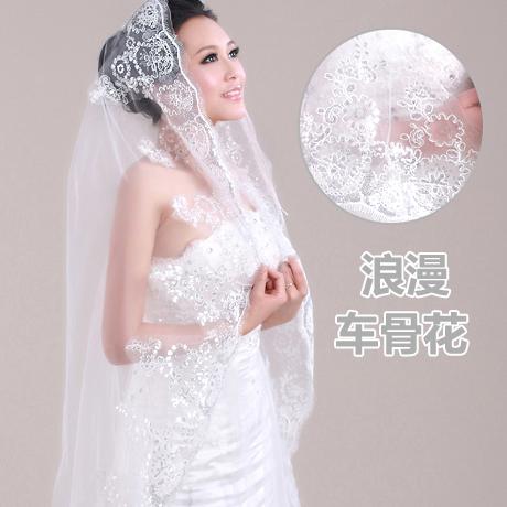 新娘奢华花型亮片3米长款结婚头纱 韩式拖尾蕾丝新款婚纱头纱