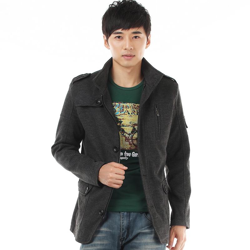 Пальто мужское Новый стиль мужской моды корейских мужчин сукна досуг шерстяная ткань Пальто мужские шерсти пальто куртки мужчины