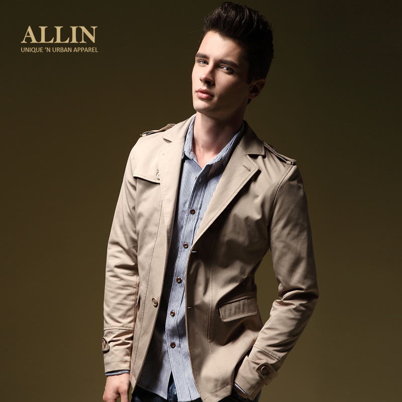 ALLIN spring jacket Korean Lady men's slim new short trench coat men's jacket WT5978