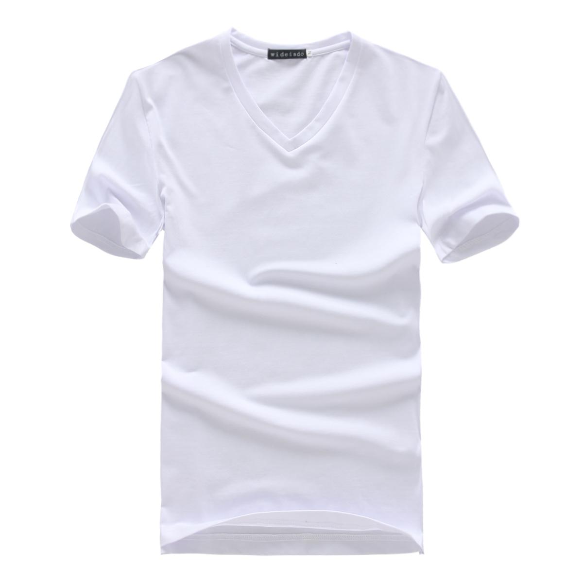 未都 精梳莱卡棉短袖t恤 男 v领运动t恤男士打底衫春新款wt007