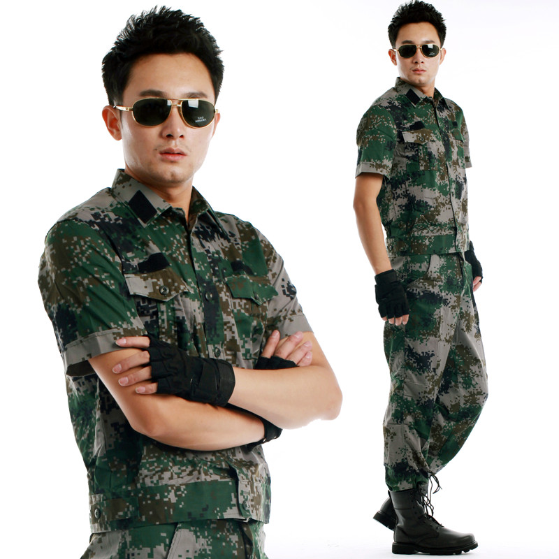 Short-sleeved men's Woodland Camo combat fans of military camouflage suit us more casual jungle camouflage