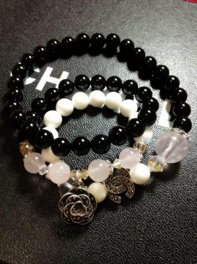 2013新款天然玛瑙粉晶水晶925银串珠多层时尚手链项链