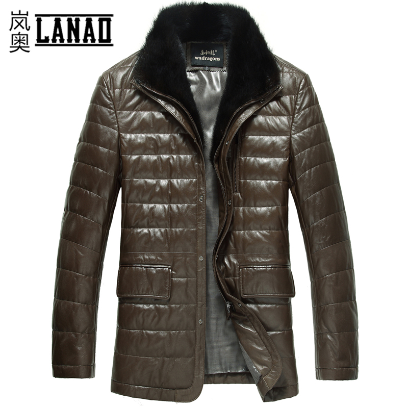 Одежда из кожи Wan Xuan Dragon С мехом Овечья кожа Зимняя Отложной воротник