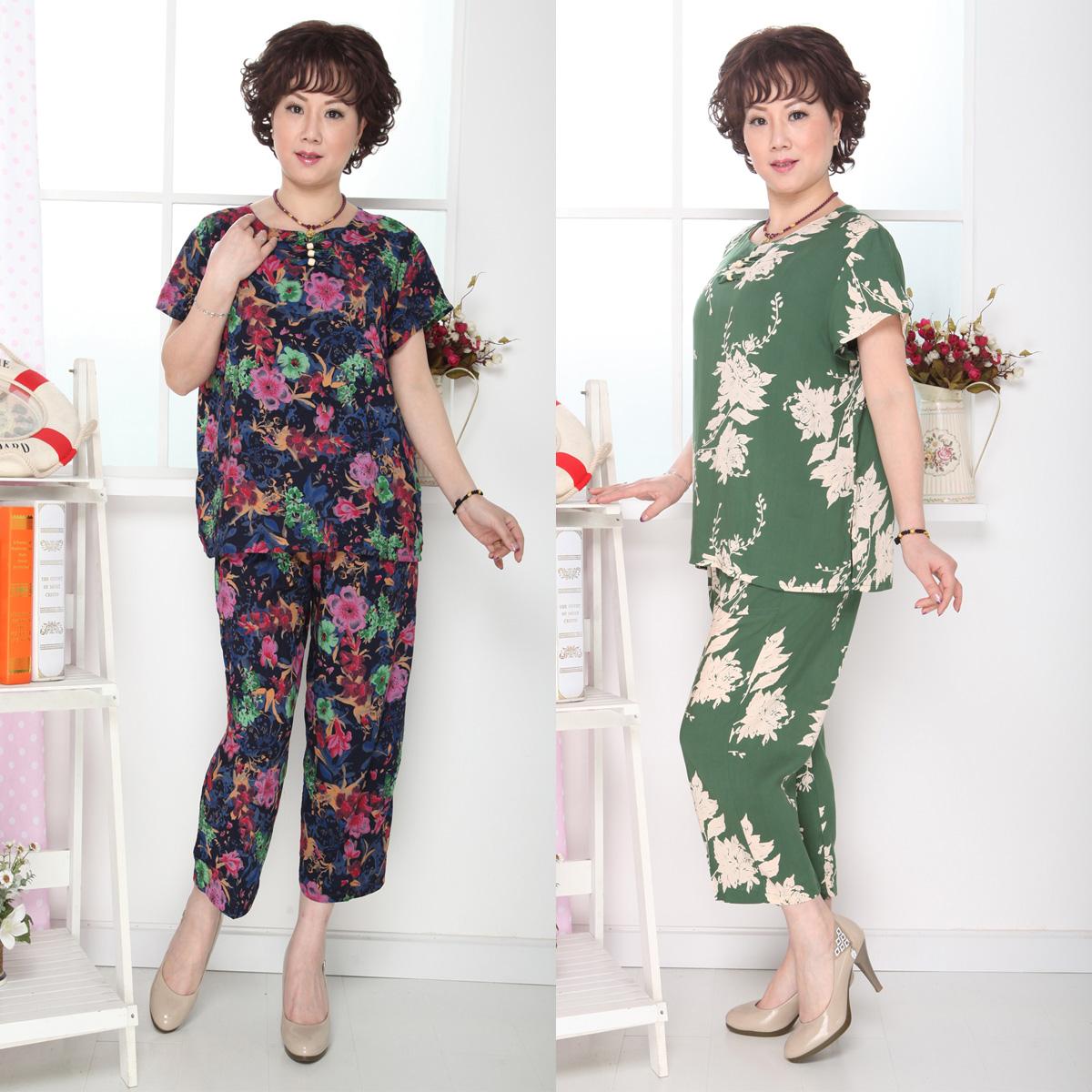 中老年女装 套装 花色休闲绸缎 套头七分裤 2013夏季宽松女士精品