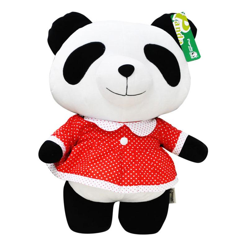 熊猫屋红色水玉连衣裙嘟嘟 大号公仔 超萌卡通玩具娃娃