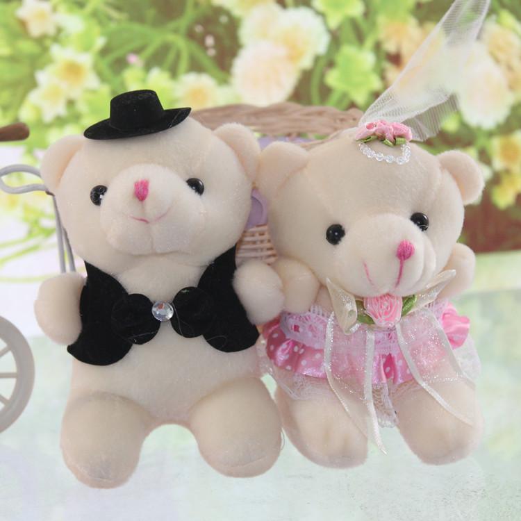 悦之恋 小挂件婚庆活动小礼物 婚纱熊一对 小号情侣熊毛绒玩具