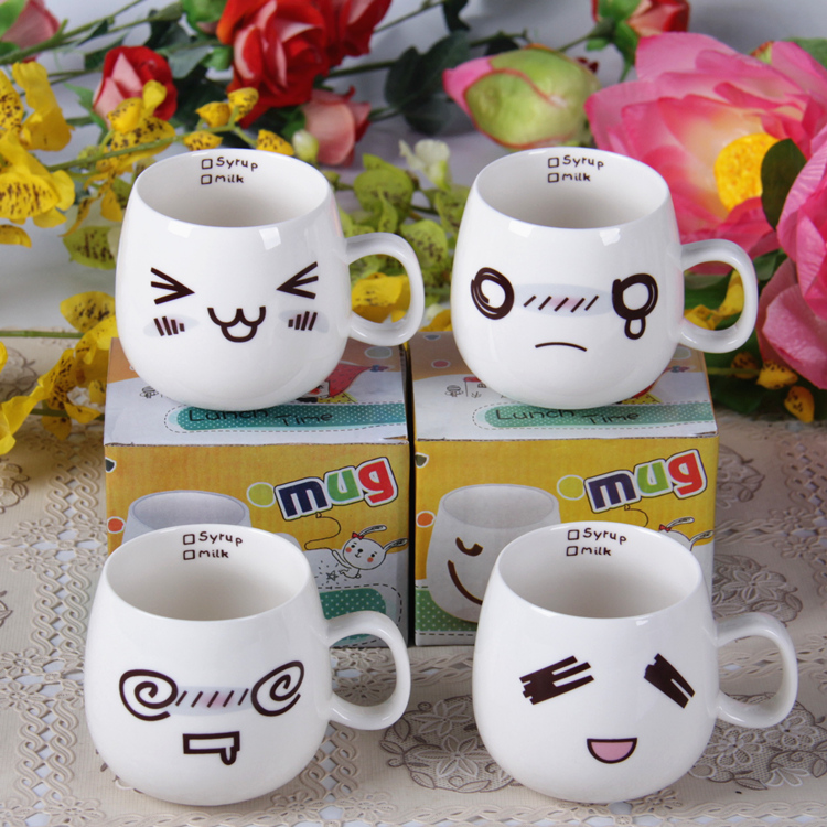 萌版杯子陶瓷杯带盖马克杯创意水杯咖啡杯情侣杯奶茶牛奶杯免邮