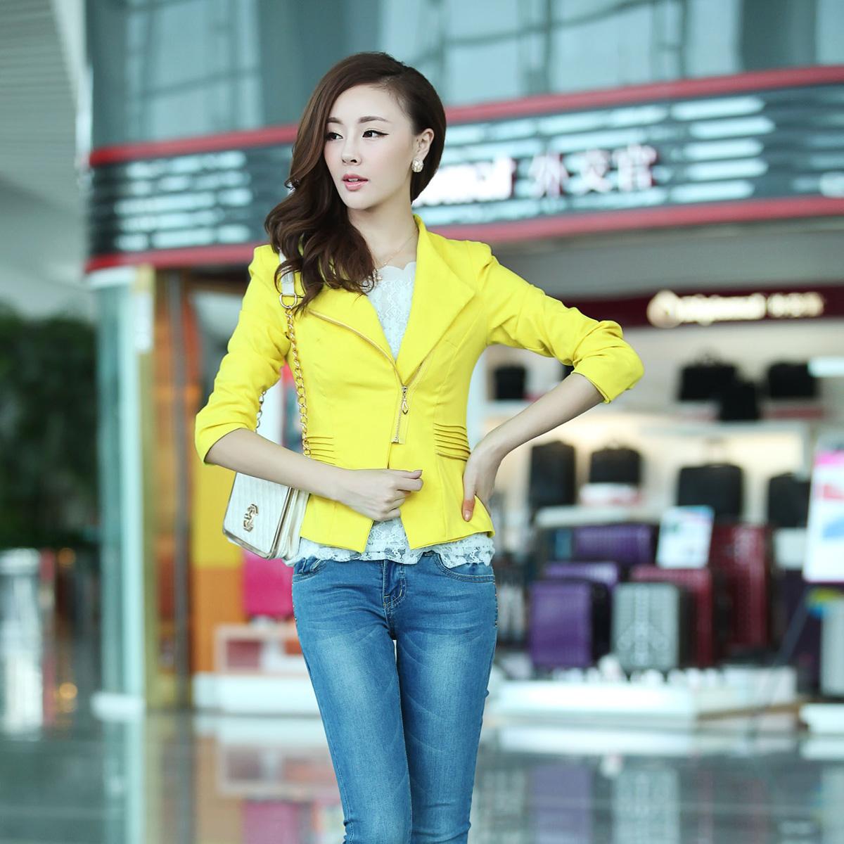 Блэйзер Осень/Зима 2013 положить новый Корейский плечами уникальный вентилятора тонкий костюм на молнии