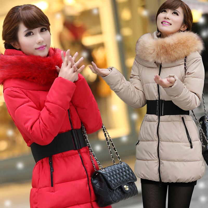 Женский пуховик 2013 Зимняя пальто длиной шерсти шеи размер толстые теплый пуховик вниз куртки женщин длинные пакеты в mail