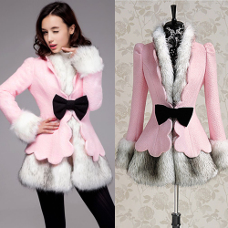 Slim petal pink fur collar wool coat jacket