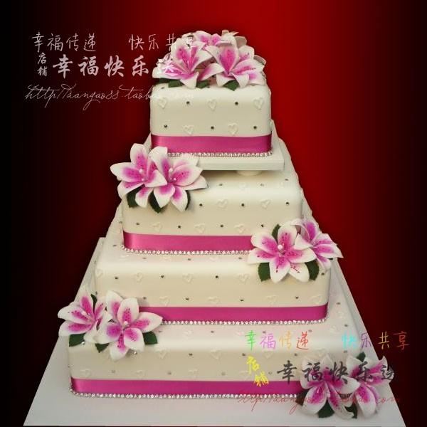 北京婚庆蛋糕订购 百年好合 百合花 翻糖百合婚礼蛋糕