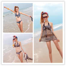 Wave ya shu 13663 skirt sexy bikini three-piece steel poly chest hot spring bathing suit
