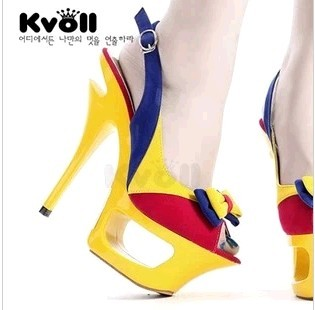 Kvoll Korean version of sweet red plum suede bow spell color styling fashion super high heels fish head sandals bottom