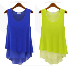 2013 spring and summer new women's large size Korean fake two splicing chiffon shirt chiffon camisole vest