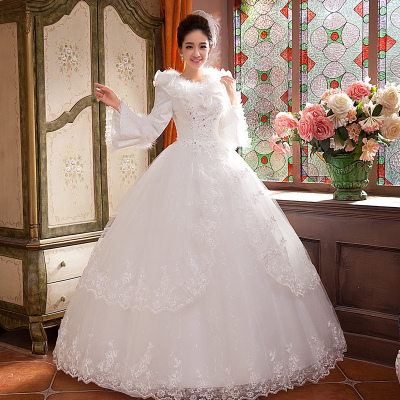 Winter 2014 new bride wedding dress was thin big yards long sleeve thick warm winter wedding winter wedding section