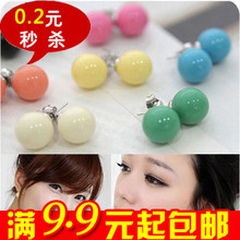 E2065 Queer Korean jewelry wholesale candy colored QQ Sphere earrings cute girl earrings / earrings