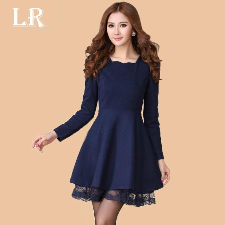 Женское платье 13 новых женской одежды осень/зима диких корейской версии базовый юбка юбка тонкий кружевной Twisted шерсти тонкий платье
