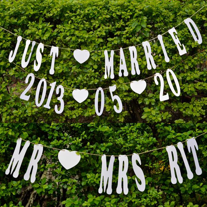 婚纱照拍摄道具 名字日期个性定制 欧式字母吊牌 婚房装饰拉花