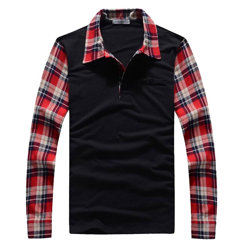 2013秋季男款修身韩版长袖t恤英伦风格男装拼接翻领时尚休闲体恤