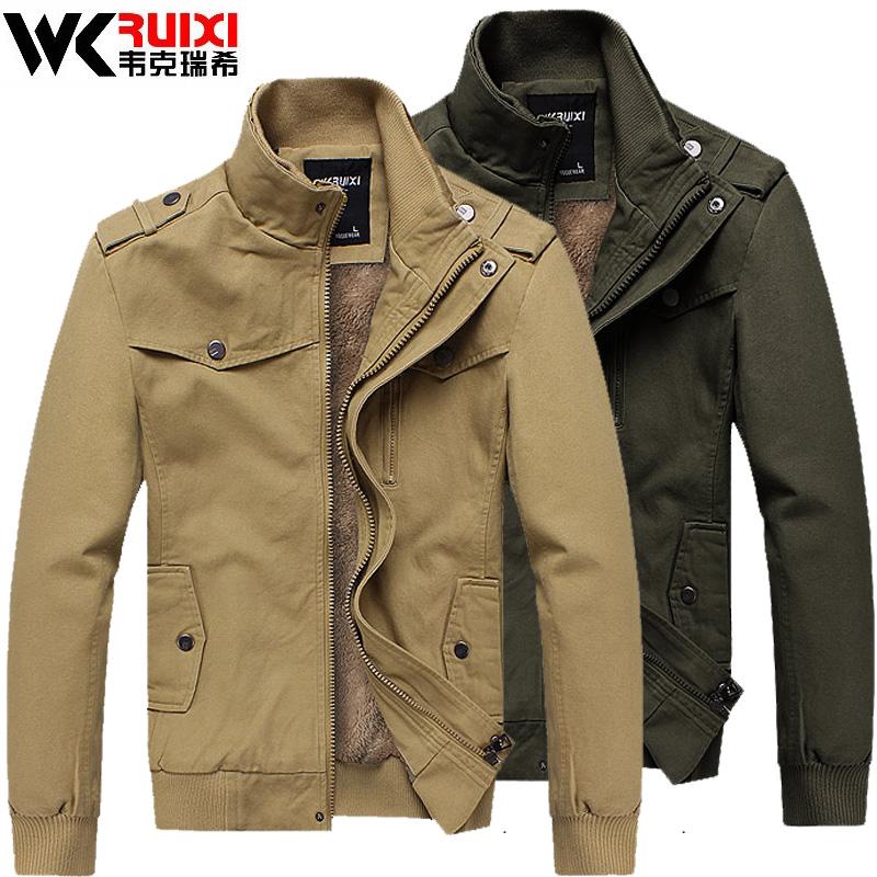 韦克瑞希 秋冬款男士加厚保暖夹克 加绒短款时尚韩版外套 英伦风