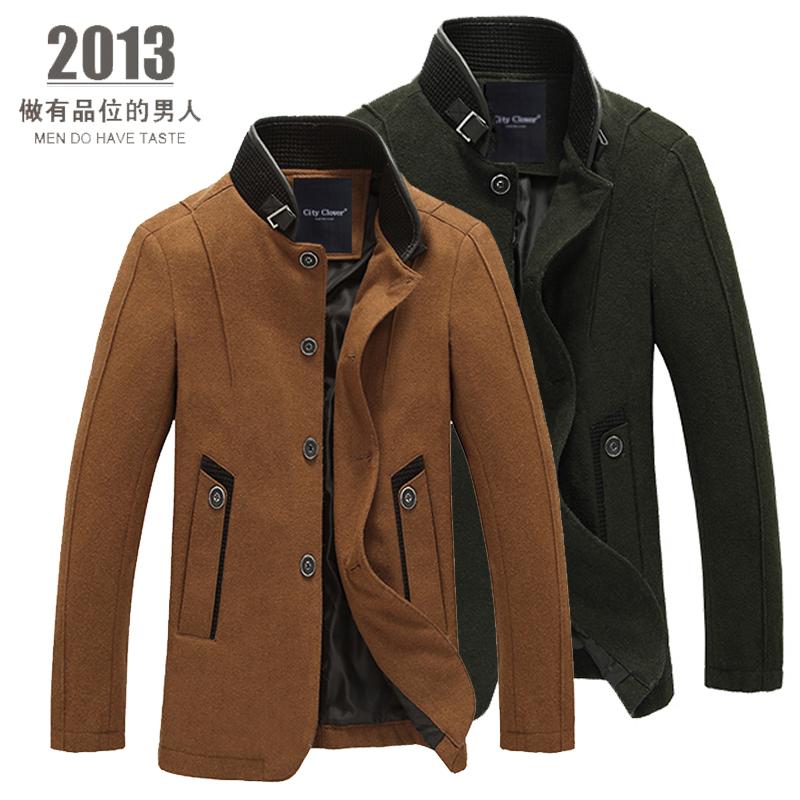 男装商务休闲男士毛呢子外套 冬装加厚羊毛呢大衣 男夹克