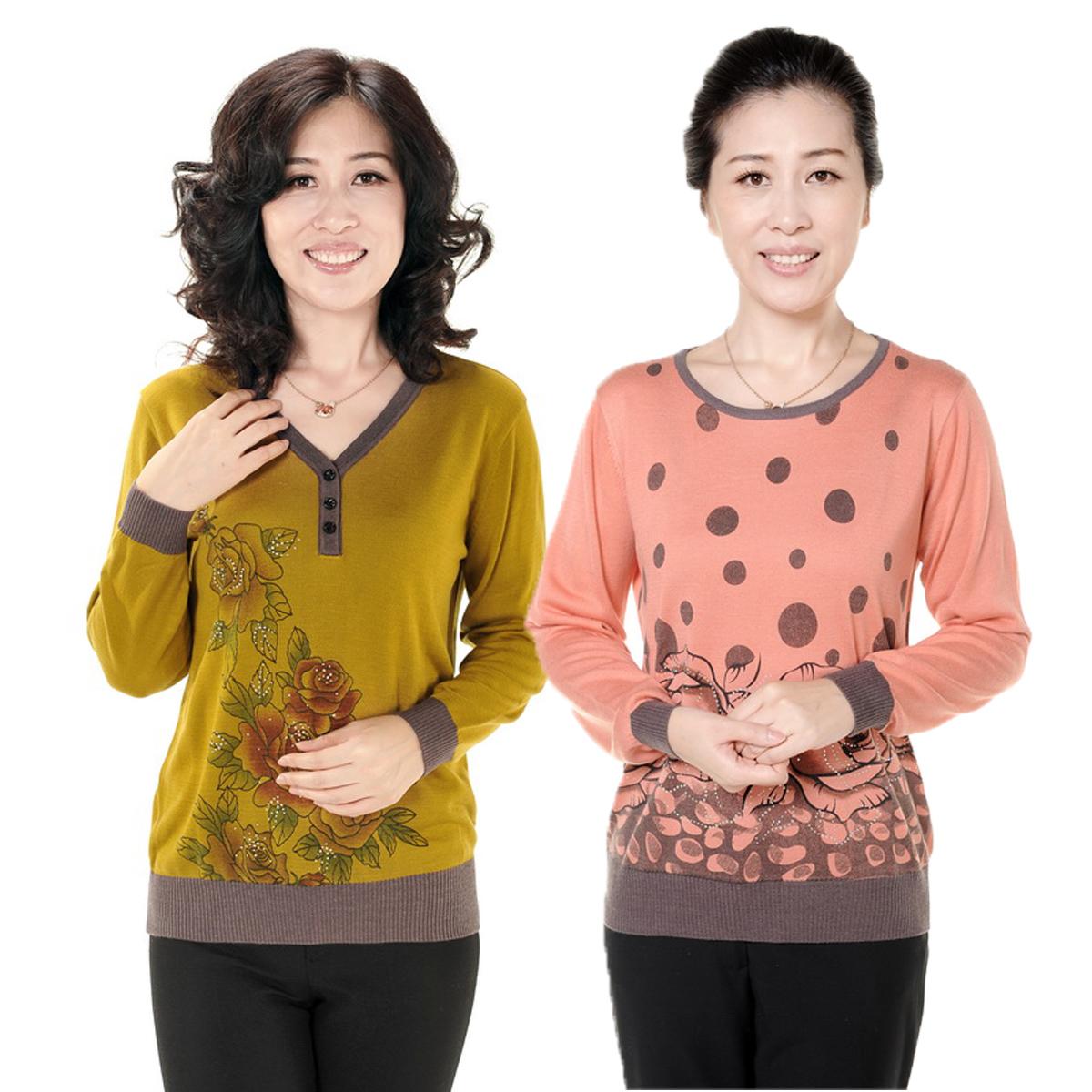 Одежда для дам Подпружиненные 2013 новый старый свитер платья 3-кнопки печати рубашки свитера длинные рукава v шеи интеллектуальной Весна 2013, Осень 2013