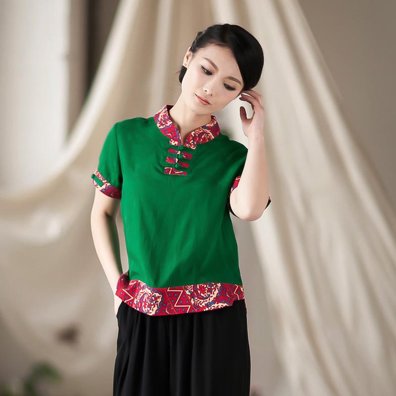 2013新款,棉麻休闲时尚妈妈装夏装中年女装2013大码 布扣深绿