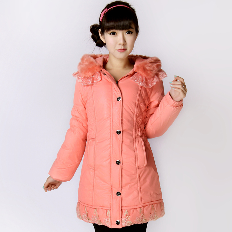 Factory clearance sale sell anti-Tiit female thick sweet lace fur collar long jacket in wave of slim hooded coat women's clothing