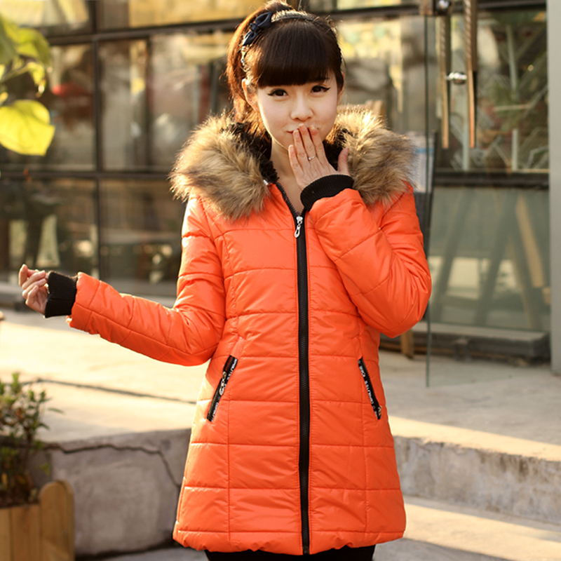 Factory clearance sale promo girls hooded long sweet fur collar jacket slim fit cotton candy-colored women's tide