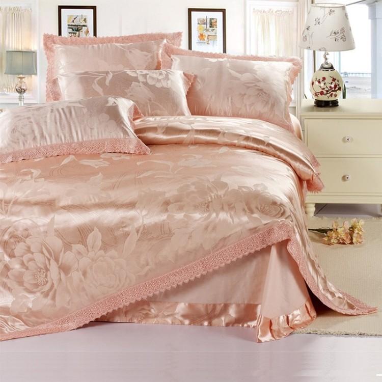 家纺正品全棉柔丝提花四件套 婚庆被套纯棉床上用品天丝4件套