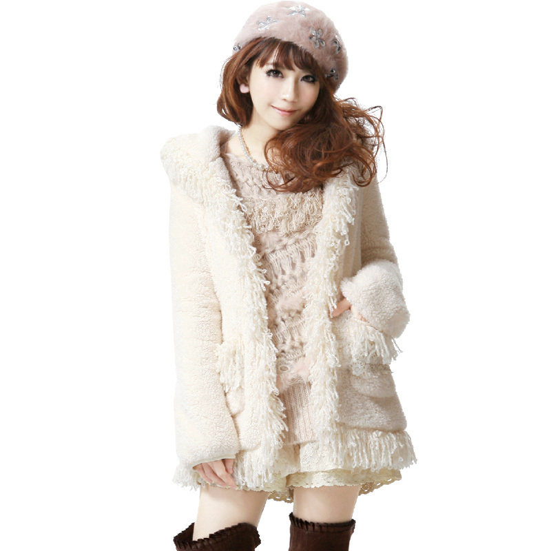 Love fish 2013 spring new style Japanese sweet lamb fluffy coat of cashmere wool coat thin coat