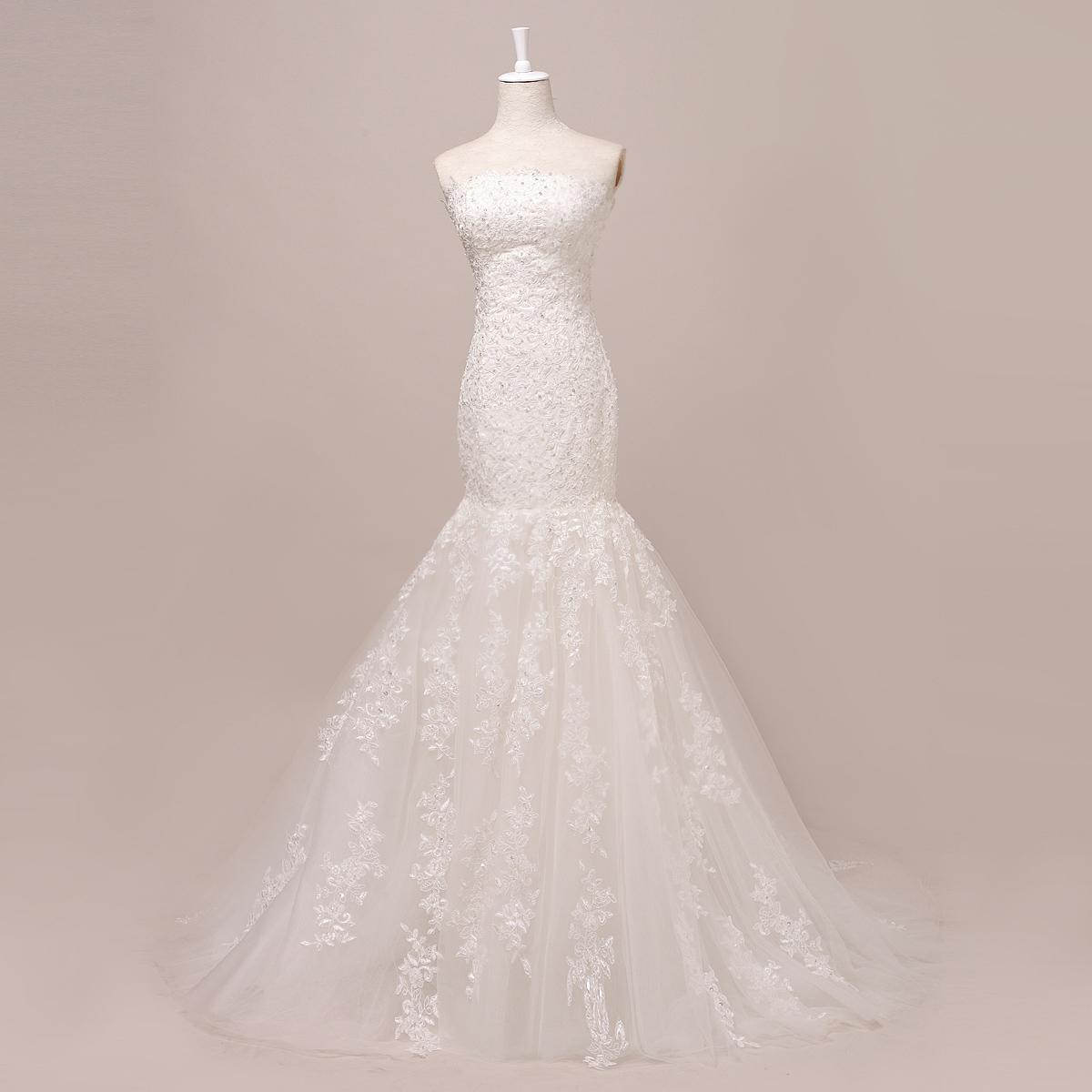 2013新款预售 修身 小拖尾  尊贵豪华塑身包臀鱼尾婚纱 拖尾婚纱