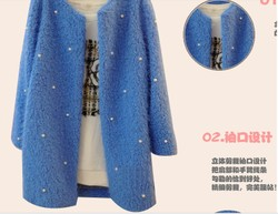 Korean style plush coat big size beaded woolen jacket Slim