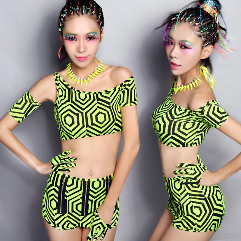 新款夜店酒吧女ds领舞演出服装现代炫酷时尚舞台装 热裤分体套装