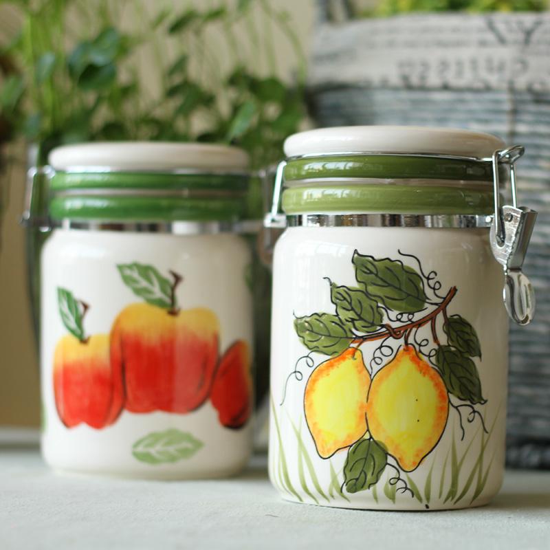 厨房用品餐饮用具储物罐调味罐储物罐 单个陶瓷密封罐 2色选特价