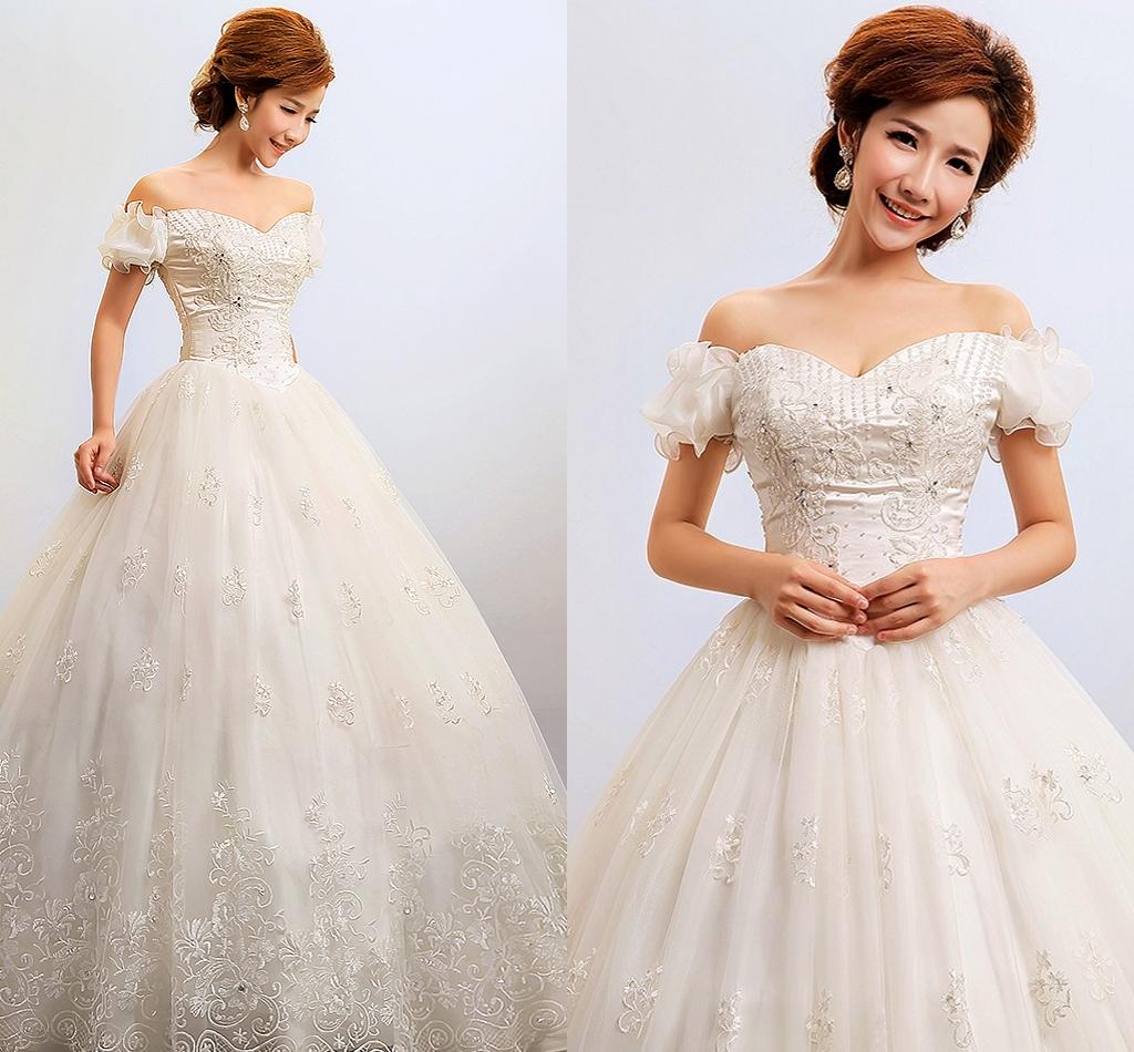 新款新娘婚纱一字肩泡泡袖齐地款婚纱蓬蓬绣花钉珠白色明星婚纱