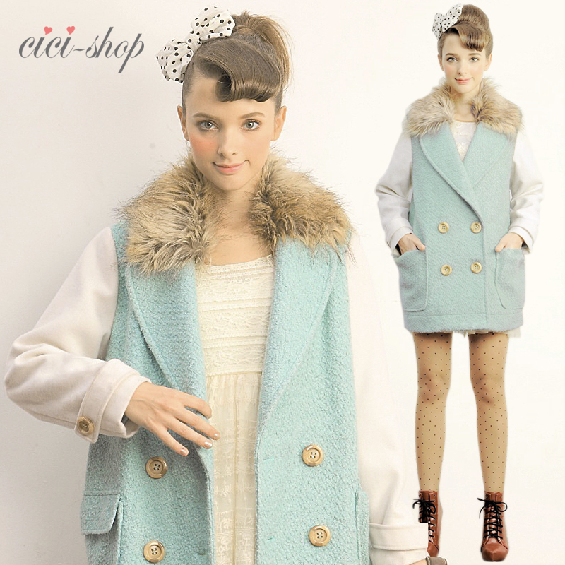 26 percent CICI-SHOP 2013 new stitching slim Japanese sweet Princess trench coat 2,715